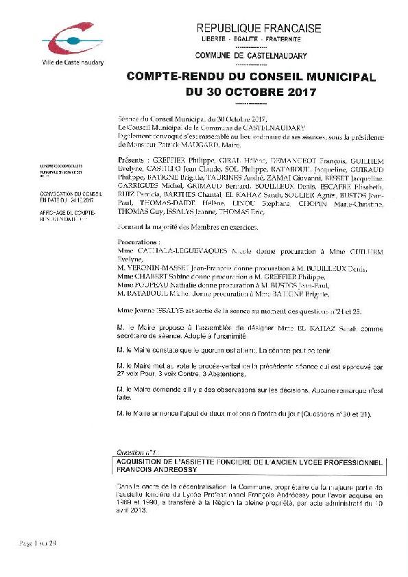 Mairie De Castelnaudary Seance Du 30 Octobre 2017